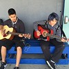 "Students from City Hearts class ""World Music: Guitar & Songwriting"" warming up for performance (May 2016)"
