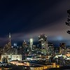 San Francisco skyline on a foggy knight