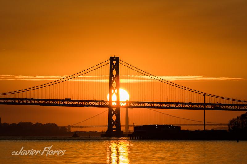 Bay Bridge and Golden Gate Bridge at Sunset