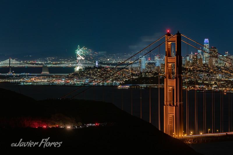 Golden Gate Bridge with Fireworks