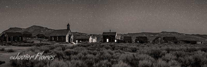 Bodie at night panoramic
