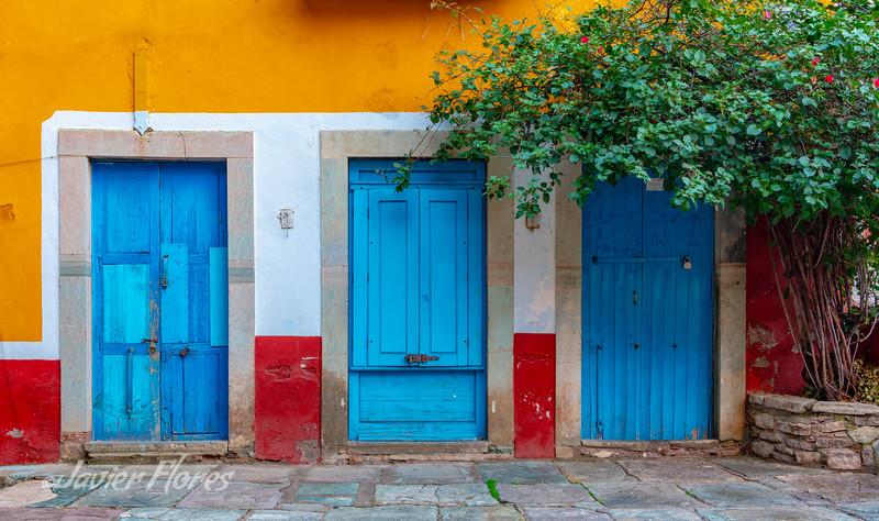 Three Blue Doors