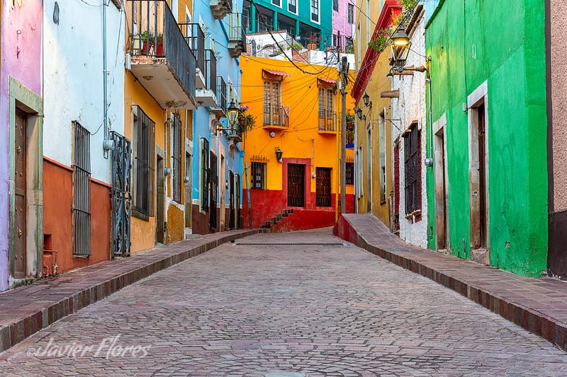 Colorful homes on Callejon El Potreto Guanajuato