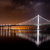 Oakland Bridge reflection on bay water
