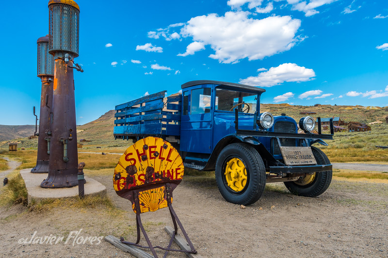 Bodie Gas Station with 1927 Dodge truck and Stamp Mill