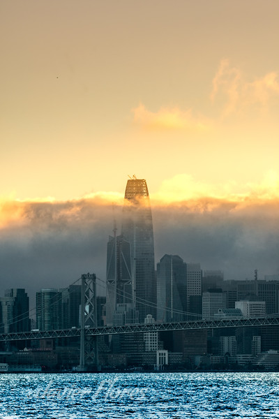 San Francisco fog over the city at sunset