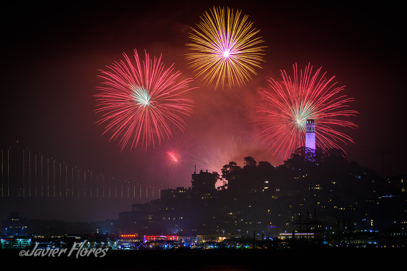 New Year Fireworks WIth the Coit Tower