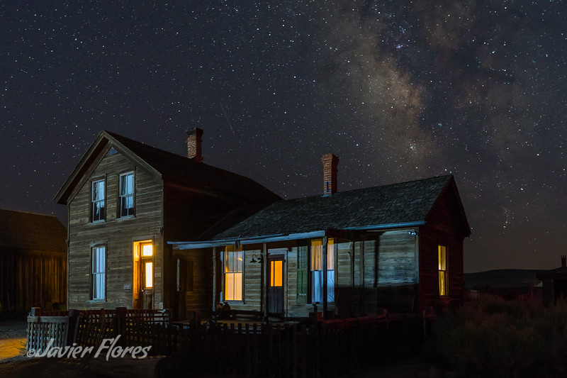 Bodie ghost town home and milky way