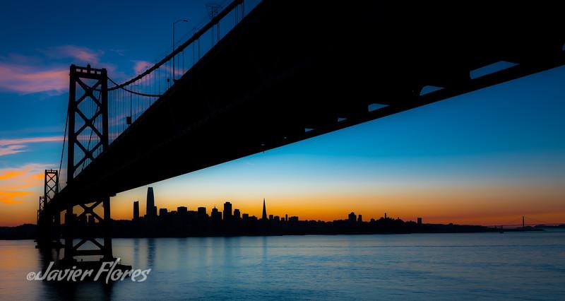 Silhouette of the San Francisco Bay Bridge