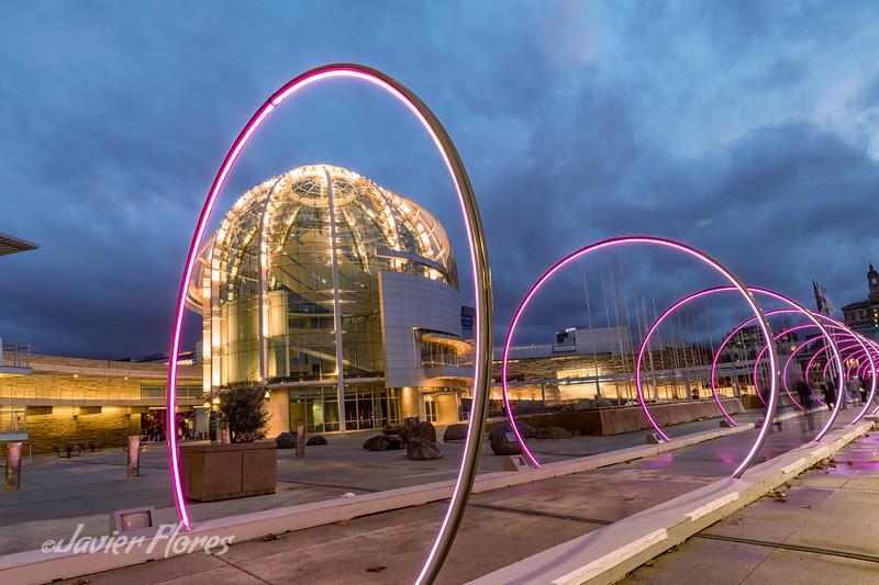 San Jose CA City Hall with Sonic Runway Art Installation