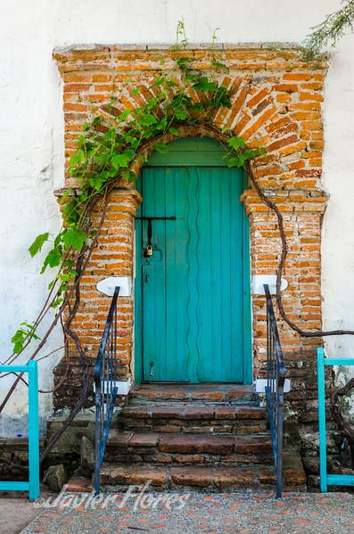 Door with brick