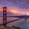 Dramatic Sunset with Golden Gate Bridge and City Skyline