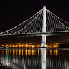 Oakland Bridge reflection on bay water