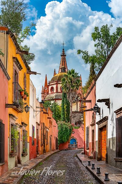 Cobble Stone Street at San Miguel De Allende Guanajuato Mexico