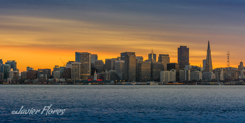 Sunset over San Francisco skyline.