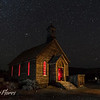 Bodie Church with red lights