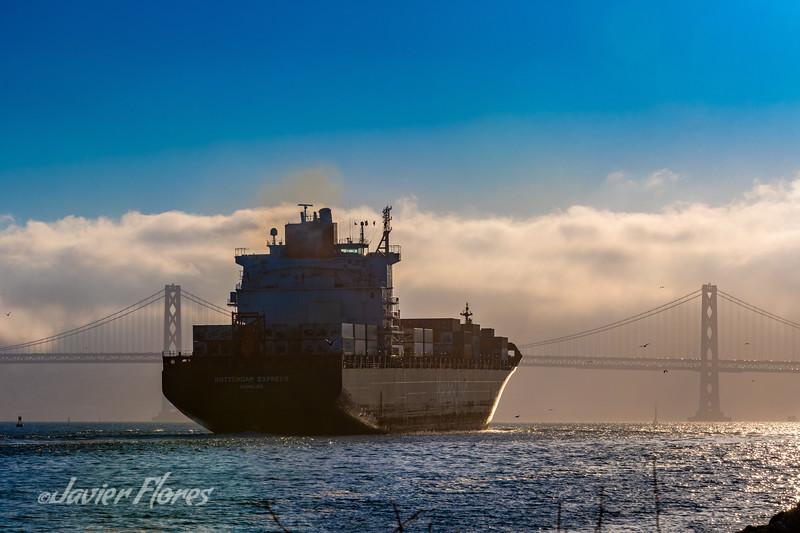 Cargo ship heading to sea under Bay Bridge