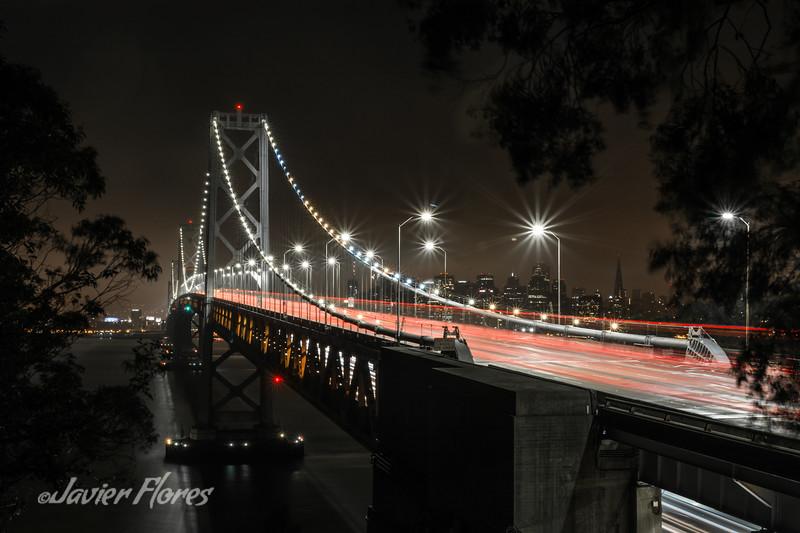 Bay Bridge at night with traffic