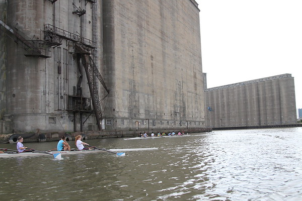 Buffalo Seminary Crew Practice with Buffalo Grain Elevators in background Buffalo, NY