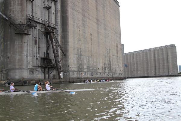 Buffalo Seminary Crew Practice with Buffalo Grain Elevators in background Buffalo, NY