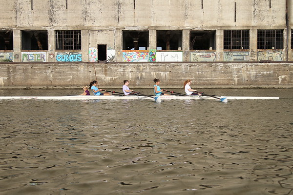 Buffalo Seminary Crew Practice with Buffalo Grain Elevators in background