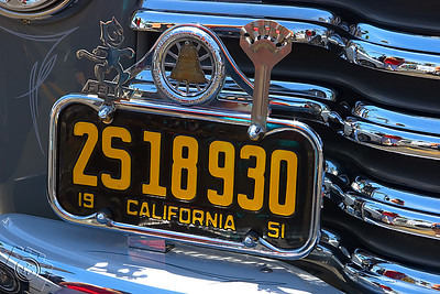 License plate on a 1951 Chevrolet Pick Up truck
