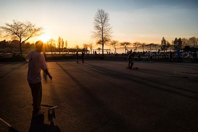 Skateboarders at Sunset Beach