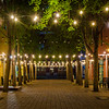 String lights at Century Plaza at night, in downtown Roanoke, Virginia.