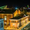 View of buildings in downtown at night, in Roanoke, Virginia