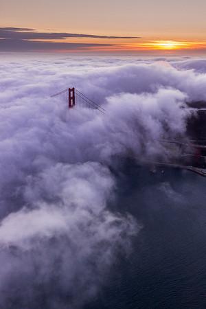 Aeriel Golden Gate Bridge Sunset - 1467x2200 Web