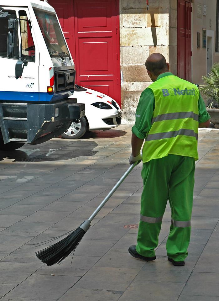Street Cleaner, Barcelona, Spain