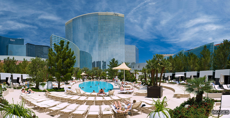The Aria pool in Las Vegas.<br /> 6 frame vertical pano.