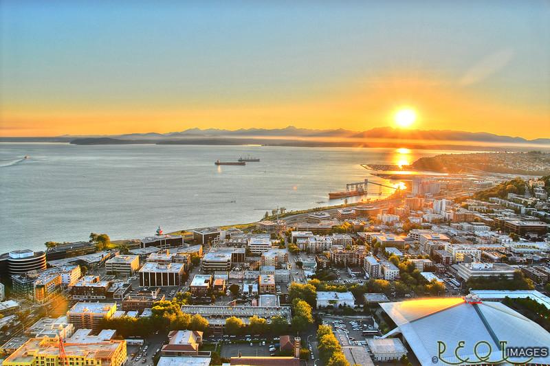 Sunset over Elliot Bay.
