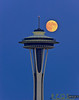 Full moon over Space Needle 8/4/2009