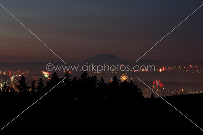 July 4th 2012. Looking north over Portland and Vancouver, WA. Mount Saint Helens in distance.