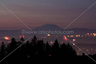 July 4th 2012. Looking north over Portland and Vancouver, WA. Mount Saint Helens subtly dominates at sunset...