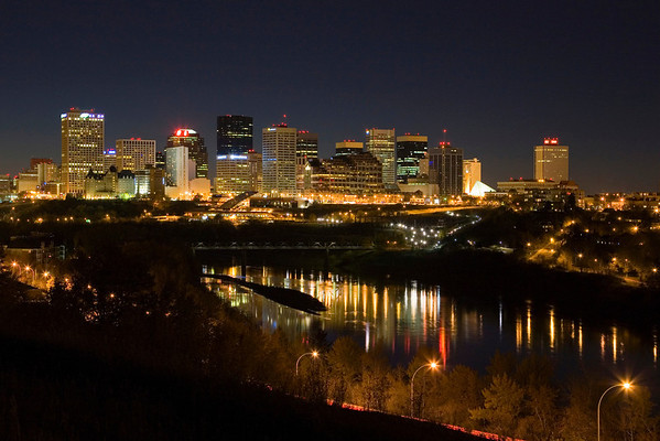 The night skyline of Edmonton, Alberta, Canada