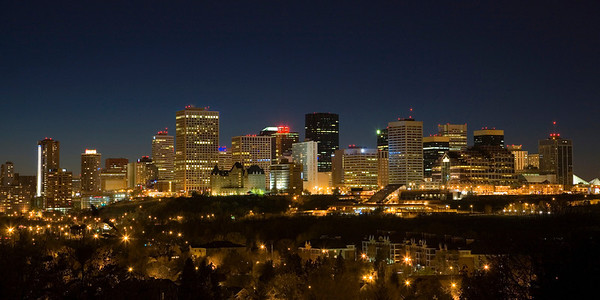 The night skyline of Edmonton, Alberta, Canada.
