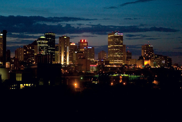 Evening Skyline of Edmonton. The city of Edmonton covers 684 square kilometers boasting one of the lowest population densities among North American cites. JCI Photo - Jeffrey S. Otto