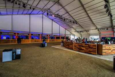 Inside the largest of the tents in the park for food and drink.