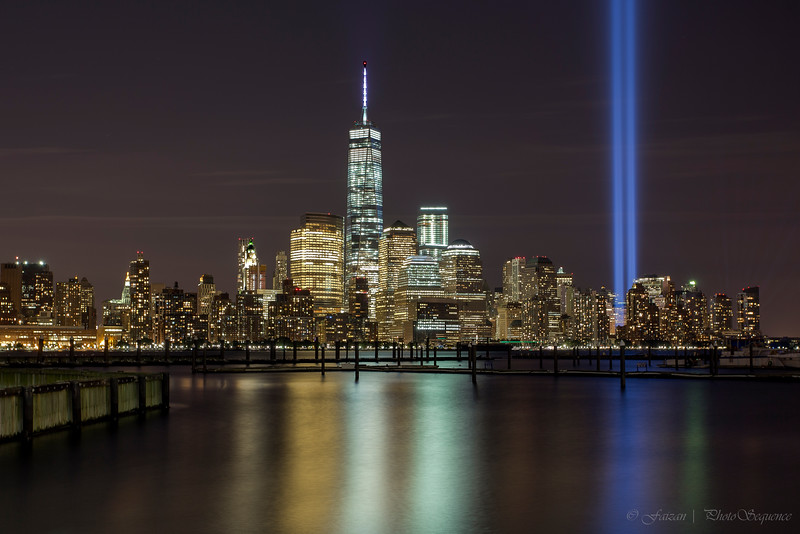 Manhattan - downtown with 9/11 lights