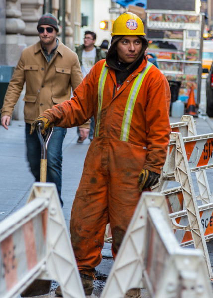 A construction worker in midtown Manhattan, New York, NY.