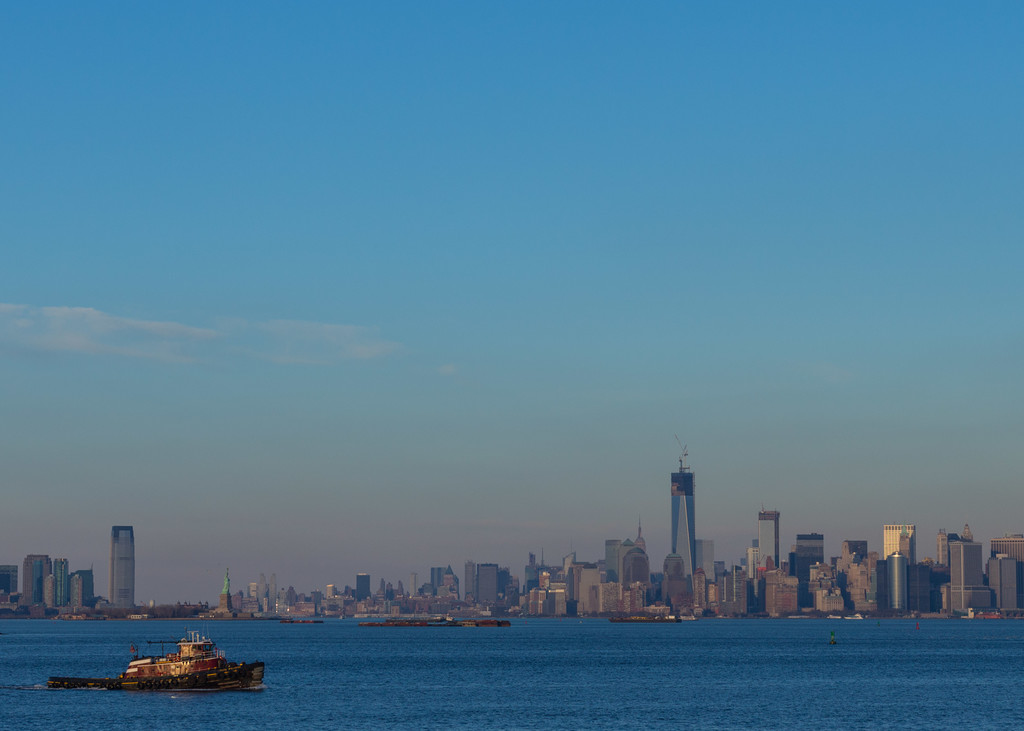 New York City skyline, viewed from the Staten Island Ferry.