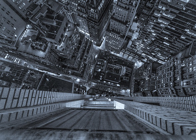 Looking down, fifty-two stories over the Financial District, New York, NY.