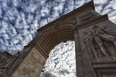 The Arch at Washington Square Park, New York, NY, on a cloudy day in January 2013.
