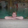 Rosa in het zwembad.