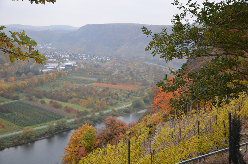 Zicht op Dieblich langs de moezel aan het autosnelweg restaurant afrit Moseltal-West langs de A61 richting Mainz.