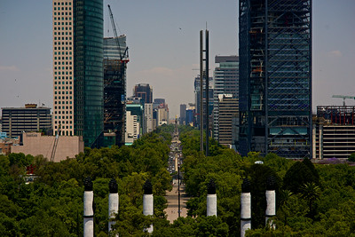 A view of Paseo de la Reforma and the Angel of Independence from the Museum of The Castle of Chapultepec. Set on a hill, this castle was once the home to Maximiliano and was marched upon by U.S. Marines