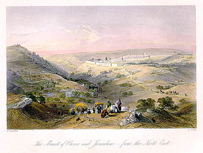 The Mount of Olives and Jerusalem from the North East, Engraved by R. Wallis after a picture by W. H. Bartlett, published in The Christian in Palestine, about 1847.