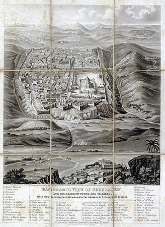 Panoramic View of Jerusalem and the Adjacent Towns and Villages from a drawing by The Librarian of the Armenian Convent Drawn and engraved by N. Whittock, published by David Bogue, London, in 1845. Unexcavated City of David proceeds from below South wall and temple mount (Mount of Olives on right/East)